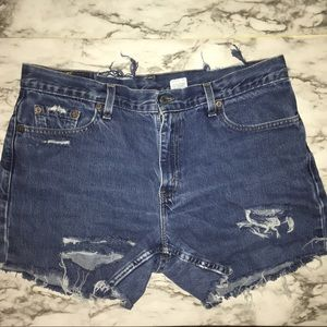 *Reworked Levi's 577 distressed MoM shorts SIZE:14